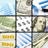 Group of business, finance and money collection theme images. Business, finance and money collection theme images, collage of nine photos stock photo