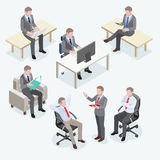 Group of business man isometric design. Royalty Free Stock Images