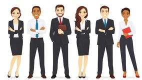 Business team set. Group of business man and woman vector illustration set Stock Images