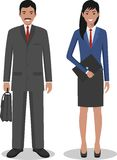 Group of business man and woman, working people standing together on white background in flat style. Business team and teamwork co Stock Images