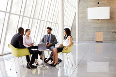 Group Business Meeting In Reception Of Modern Office Stock Photos