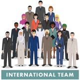 Group of business men and women, working people standing together on white background in flat style. Business team and teamwork co Royalty Free Stock Image