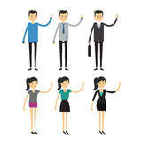 Group of business men and women, working people on white background. Flat design people characters Royalty Free Stock Images