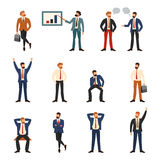 Group of business and office people. Cartoon character set of businessman in various poses, trendy flat design with simple style stock illustration