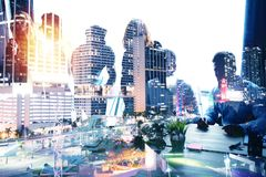 Group of business partner looking for the future. Concept of corporate and startup. double exposure royalty free stock photos