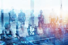 Group of business partner looking for the future with network digital effect royalty free stock image