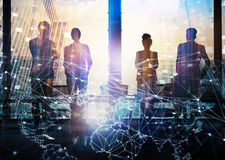 Group of business partner looking for the future with network digital effect Royalty Free Stock Photo