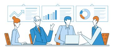 Group of business partners discussing graphs while sitting at desk during conference in office flat line vector. Illustration stock illustration
