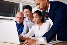Group of business partners looking at the same laptop screen Stock Image