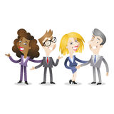 Group of business people. Vector illustration of a happy group of cartoon business people gesturing and handshaking Stock Photos