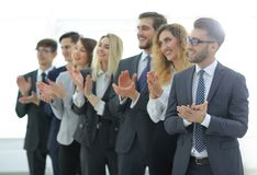 Group of business people applauding isolated. Success concept royalty free stock images