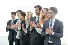 Group of business people applauding isolated. Success concept stock photos