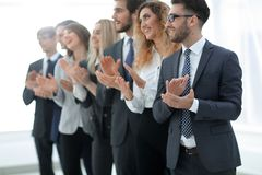 Group of business people applauding isolated. Success concept stock photo