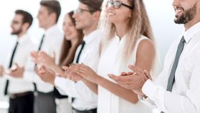 Group of business people applauding standing. Concept of success stock photography