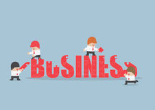 Group of business people assembling jigsaw puzzle of business word. VECTOR, EPS10 vector illustration