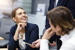 Group of business people brainstorming their ideas royalty free stock images