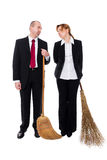 Group of business people with brooms Stock Photography
