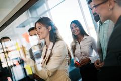 Group of business people.Business people sharing their new ideas. royalty free stock photos