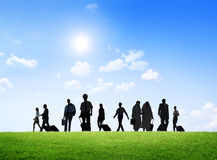 Group Of Business People On A Business Trip Walking Outdoors Royalty Free Stock Images