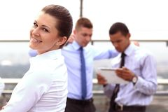 Group of business people with businessman leader royalty free stock photo