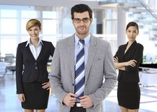 Group of business people businessman leading team Royalty Free Stock Photo