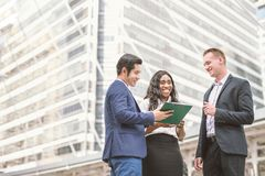 Group of business people.Businessman meeting talking and sharing their ideas in city. royalty free stock photography