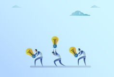 Group Of Business People Carry Light Bulbs New Idea Concept. Flat Vector Illustration Royalty Free Stock Photography