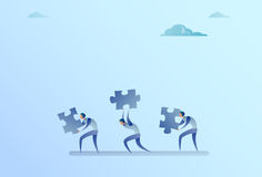 Group Of Business People Carry Puzzle Parts Teamwork Cooperation Concept. Flat Vector Illustration Royalty Free Stock Photos