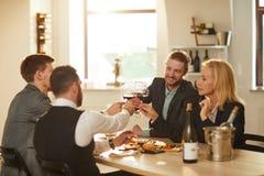 Tourists Drinking Wine at Vineyard stock image