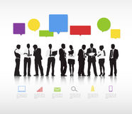 Group Of Business People And Computer Icons Royalty Free Stock Image