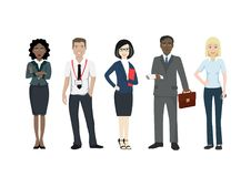 Group of business people of different races in suits. Office workers in formal clothes. Businessman and businesswoman Stock Photos