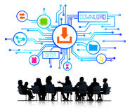 Group of Business People Discussing Data Transfer.  Stock Image