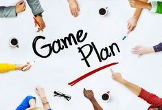 Group of Business People Discussing About Game Plan Royalty Free Stock Images