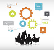 Group of Business People Discussing With Gear Symbols. Group of business people discussing in a white background with colorful gears on top of them stock illustration
