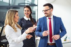 Group Of Business people discussing new project on whiteboard stock photo