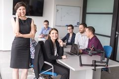 Business Team At A Meeting at modern office building royalty free stock photography