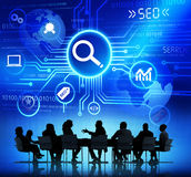 Group of Business People Discussing SEO.  vector illustration