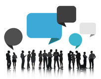 Group of Business People Discussing with Speech Bubbles Stock Photography