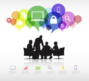 Group of Business People Discussing With Speech Bubbles and Symbols vector illustration