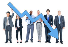 Group of Business People on Economic Crisis Stock Photography