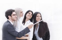 Group of Business People Enjoy Taking Selfie with Team Work after Meeting in Office. Photo with copy space stock image