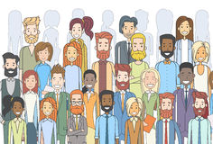 Group of Business People Face Big Crowd Businesspeople Diverse Ethnic. Vector Illustration Stock Images