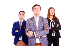Group of business people with folded hands Stock Photo