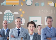 Group of business people in front of business graphics Royalty Free Stock Photography