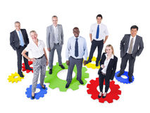 Group of Business People with Gear Symbol Stock Photo