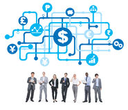 Group of Business People with Global Finance Concept Stock Image