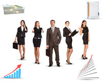 Group of business people with graphs Stock Images