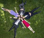 Group of business people on grassy lawn Royalty Free Stock Photo