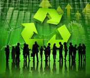 Group of Business People on Green World Economic Stock Photos