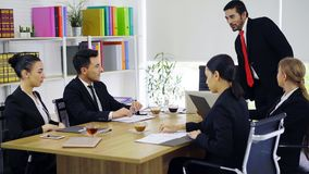 Group of business people having discussion at meeting room royalty free stock images